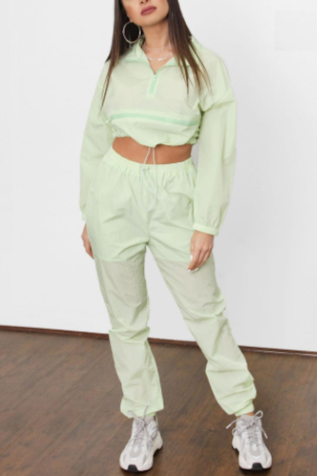 TIMELESS Lime Windbreaker Set - Front Cropped Image