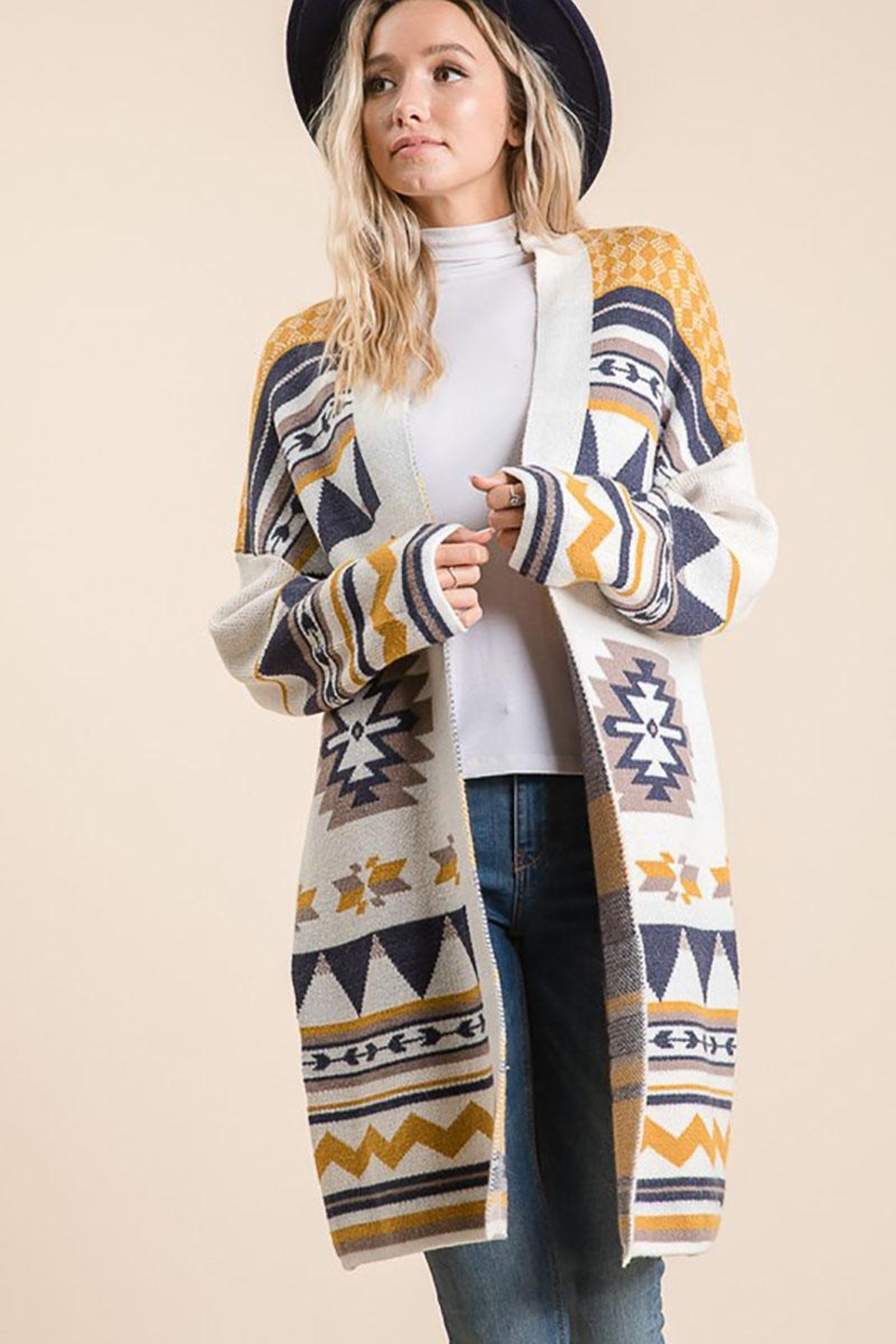 Lime n Chili Aztec Bohemian Tribal Multi Color Long Sleeve Knit Cardigan - Front Full Image