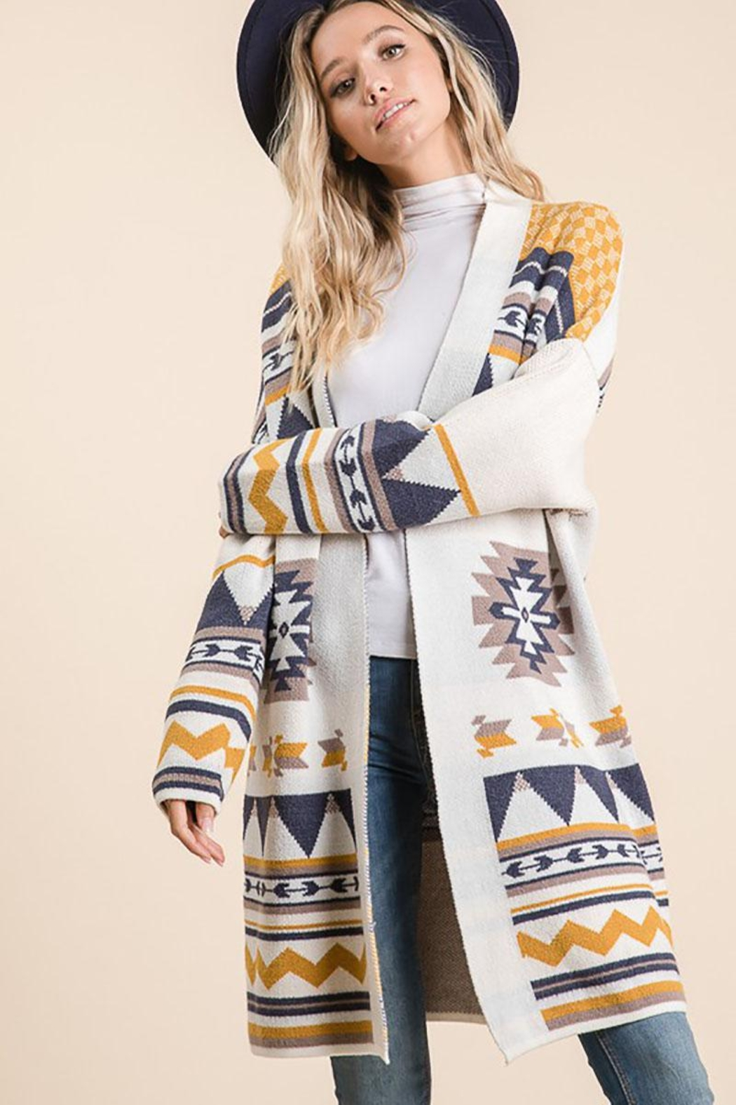 Lime n Chili Aztec Bohemian Tribal Multi Color Long Sleeve Knit Cardigan - Main Image