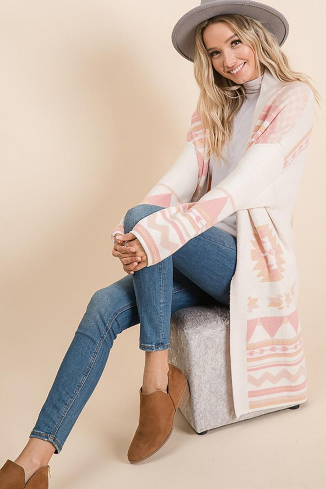 Lime n Chili Aztec Bohemian Tribal Multi Color Long Sleeve Knit Cardigan - Side Cropped Image