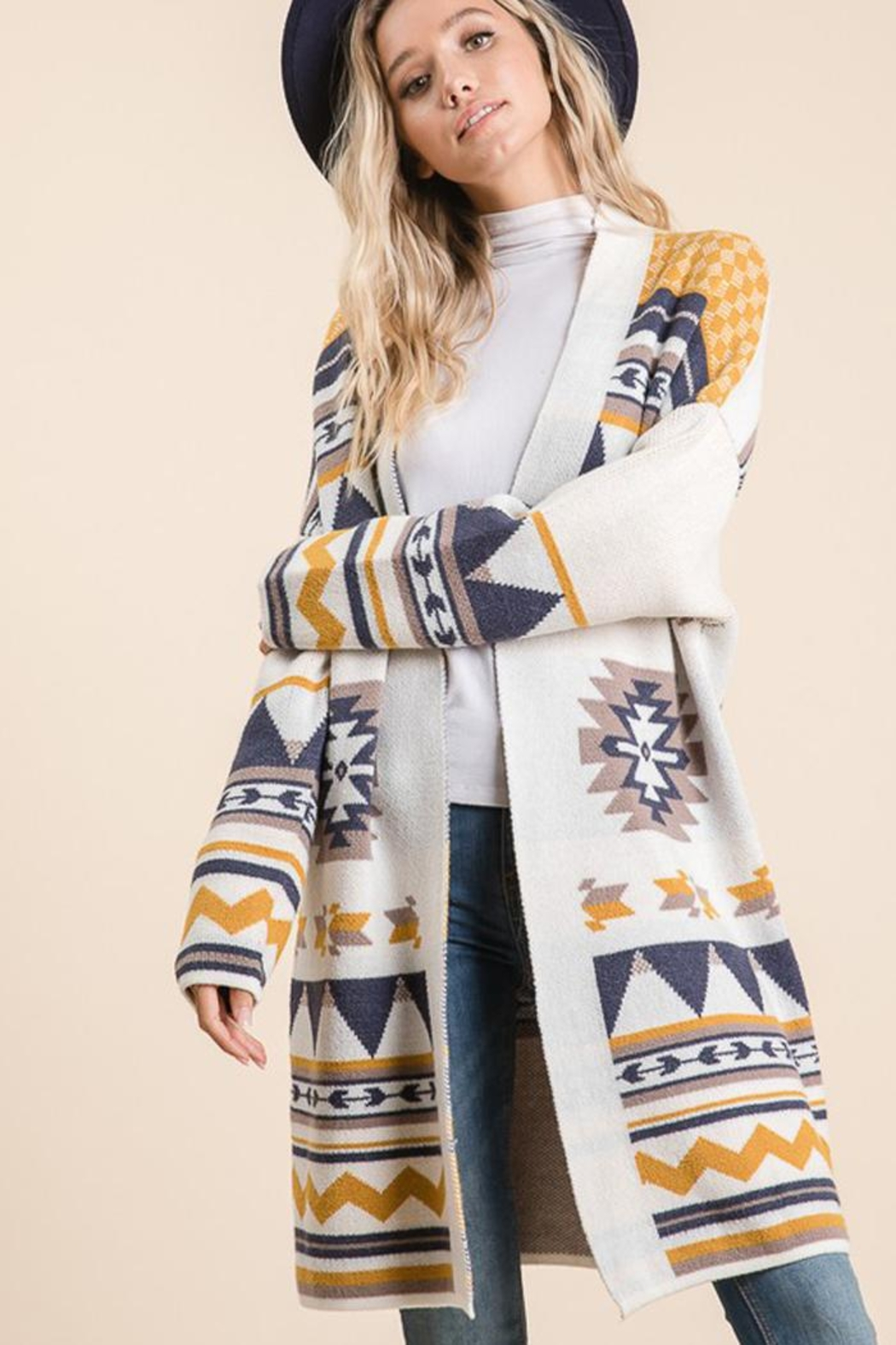 Lime n Chili Aztec Tribal Pattern Jacquard Long Sleeve Sweater Knit Cardigan - Front Full Image