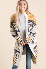 Lime n Chili Aztec Tribal Pattern Jacquard Long Sleeve Sweater Knit Cardigan - Back cropped