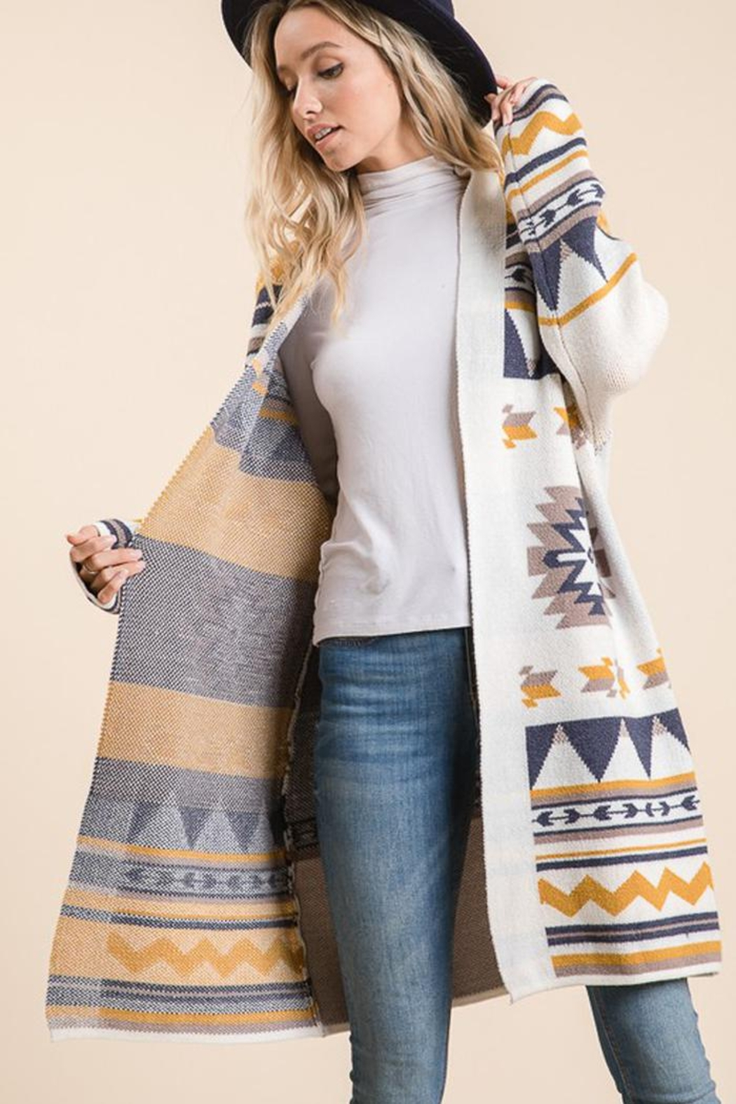 Lime n Chili Aztec Tribal Pattern Jacquard Long Sleeve Sweater Knit Cardigan - Side Cropped Image