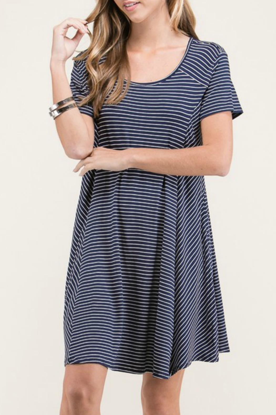 Lime n Chili Navy Stripe Dress - Front Full Image