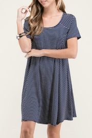Lime n Chili Navy Stripe Dress - Front full body