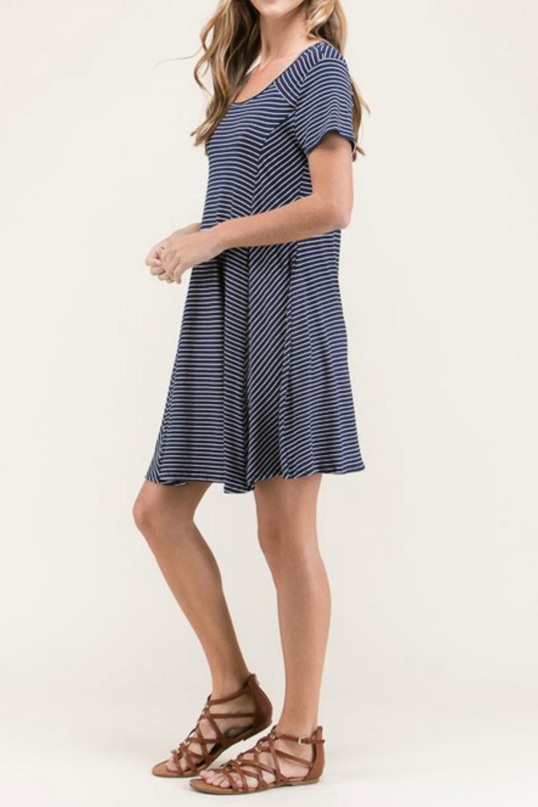 Lime n Chili Navy Stripe Dress - Front Cropped Image