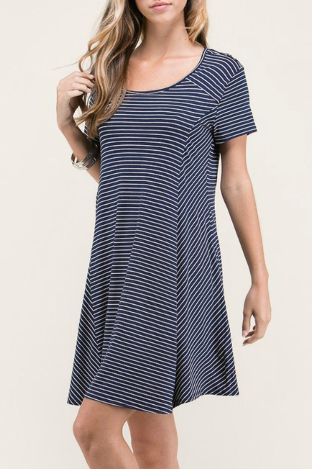 Lime n Chili Navy Stripe Dress - Side Cropped Image