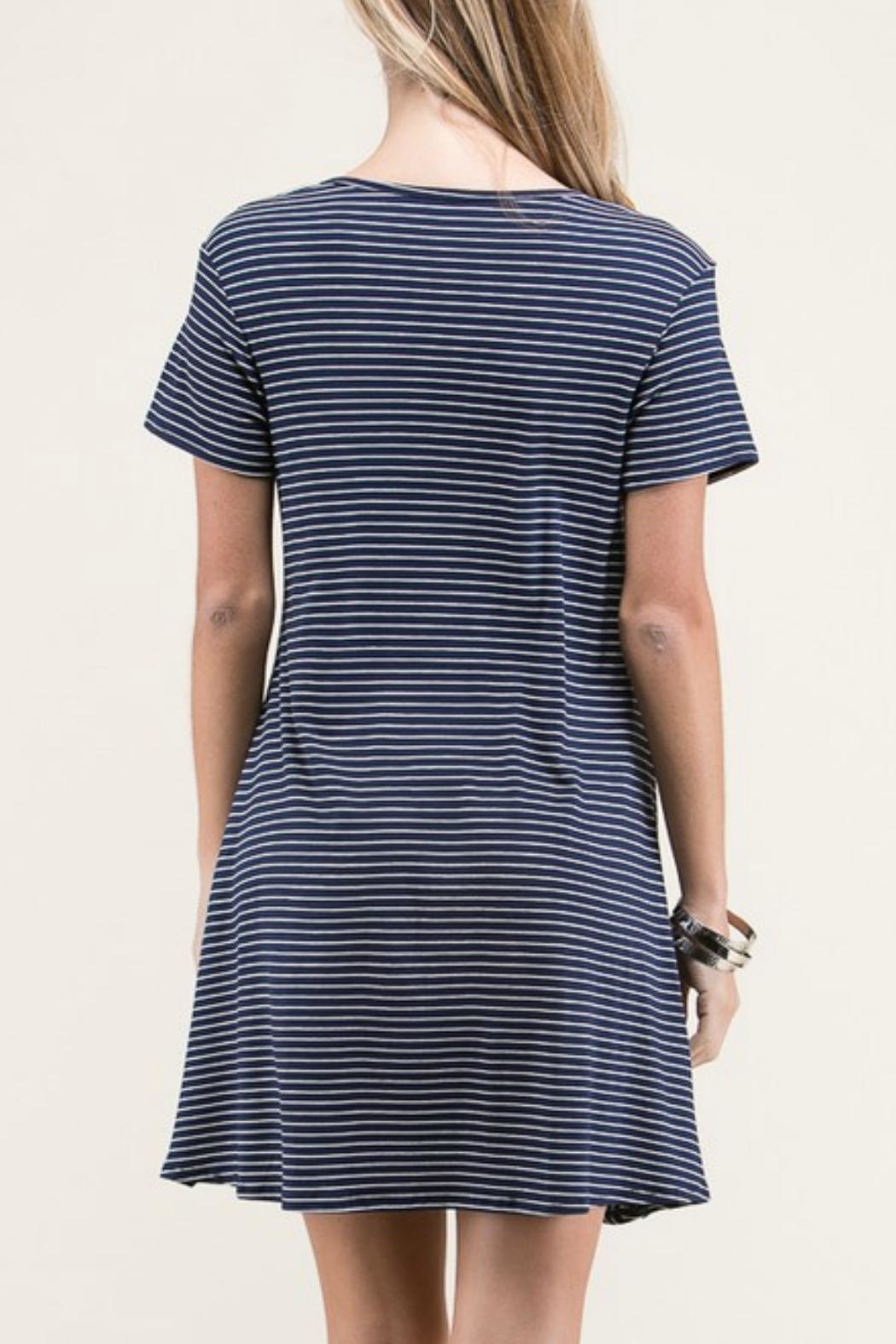 Lime n Chili Navy Stripe Dress - Back Cropped Image