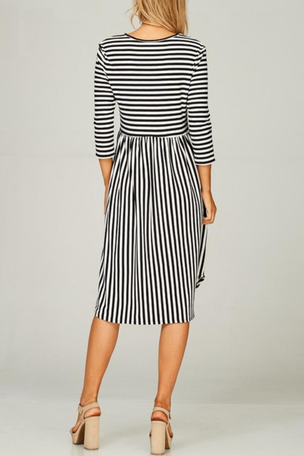 Lime n Chili Striped 3/4-Sleeve Dress - Front Full Image