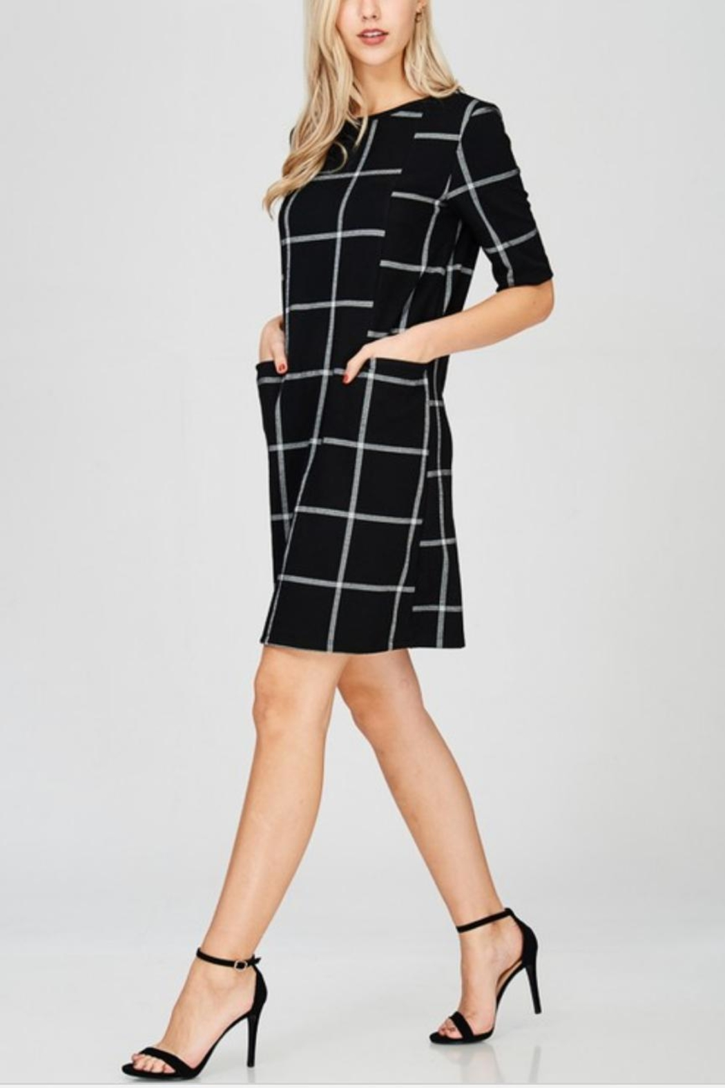 Lime n Chili Windowpane Print Knit-Dress - Front Cropped Image