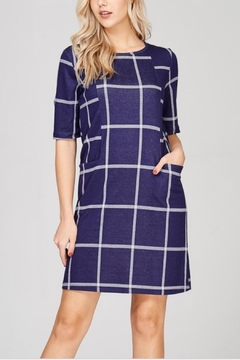 Lime n Chili Windowpane Print Knit-Dress - Product List Image