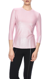 Linda Leal Three-Quarter Shimmer Top - Front cropped