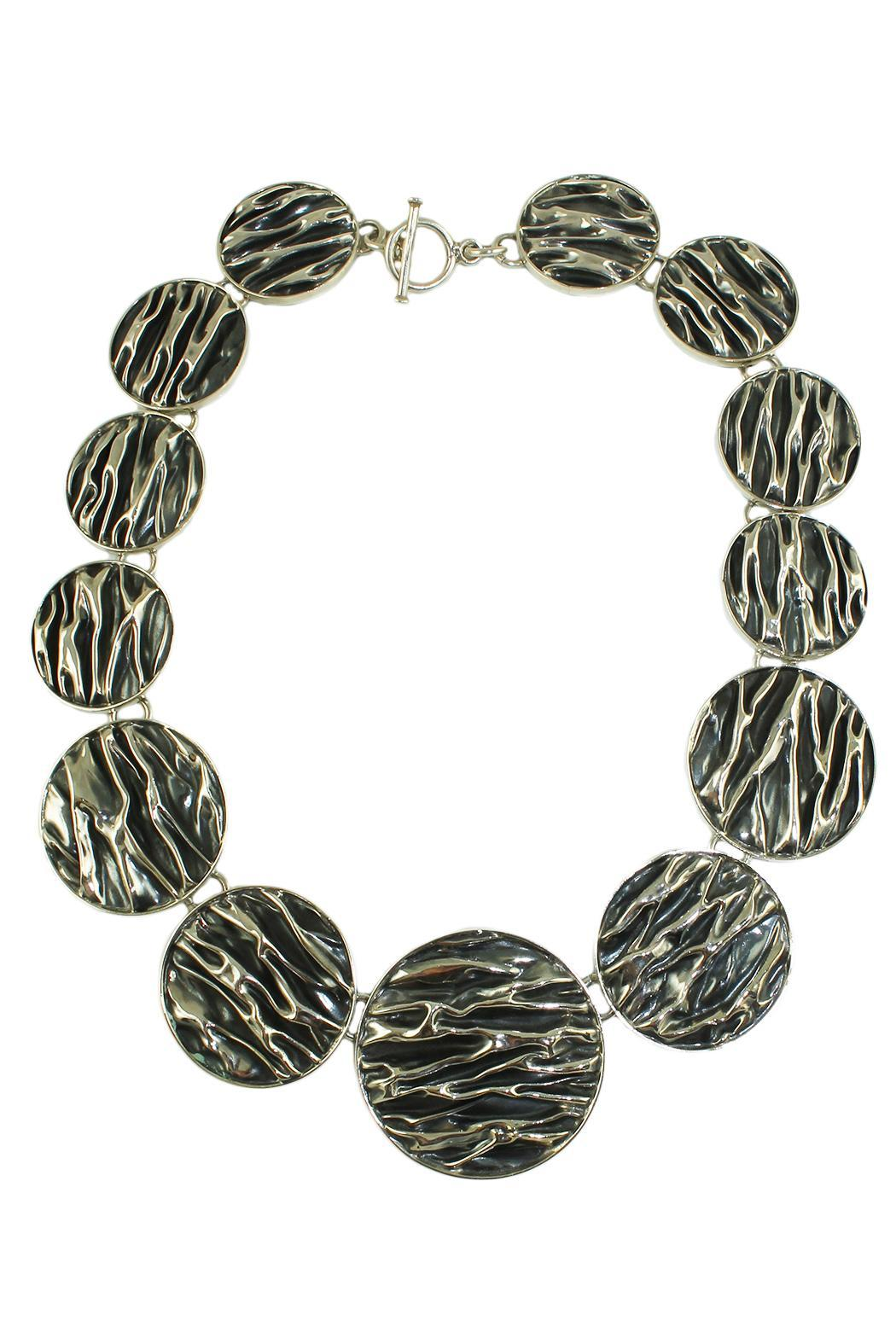 Linda de Taxco Corrugated Circle Necklace - Front Cropped Image