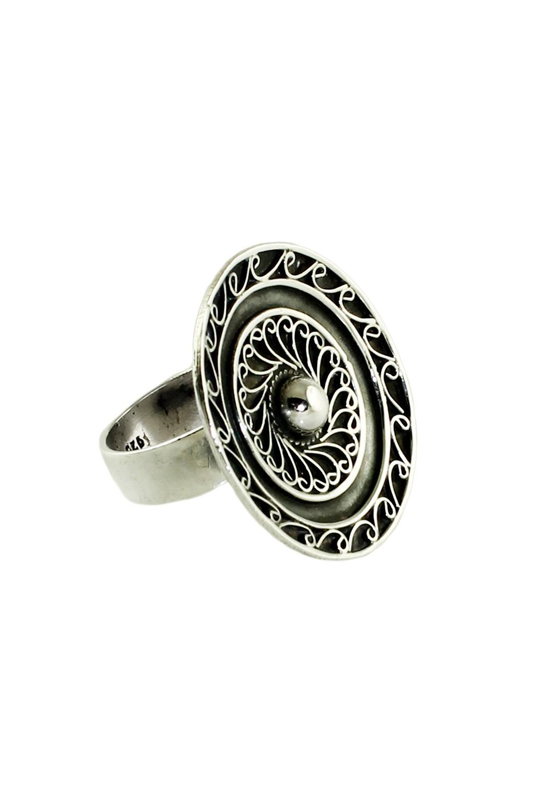 Linda de Taxco Round Silver Ring - Side Cropped Image