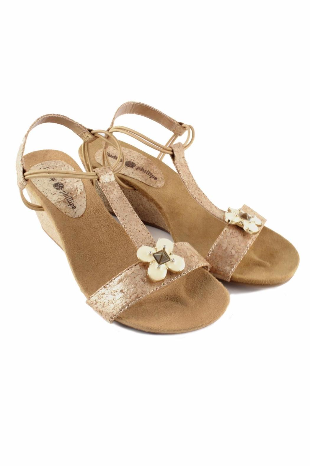 Lindsay Phillips Gold Platform Wedge - Front Full Image