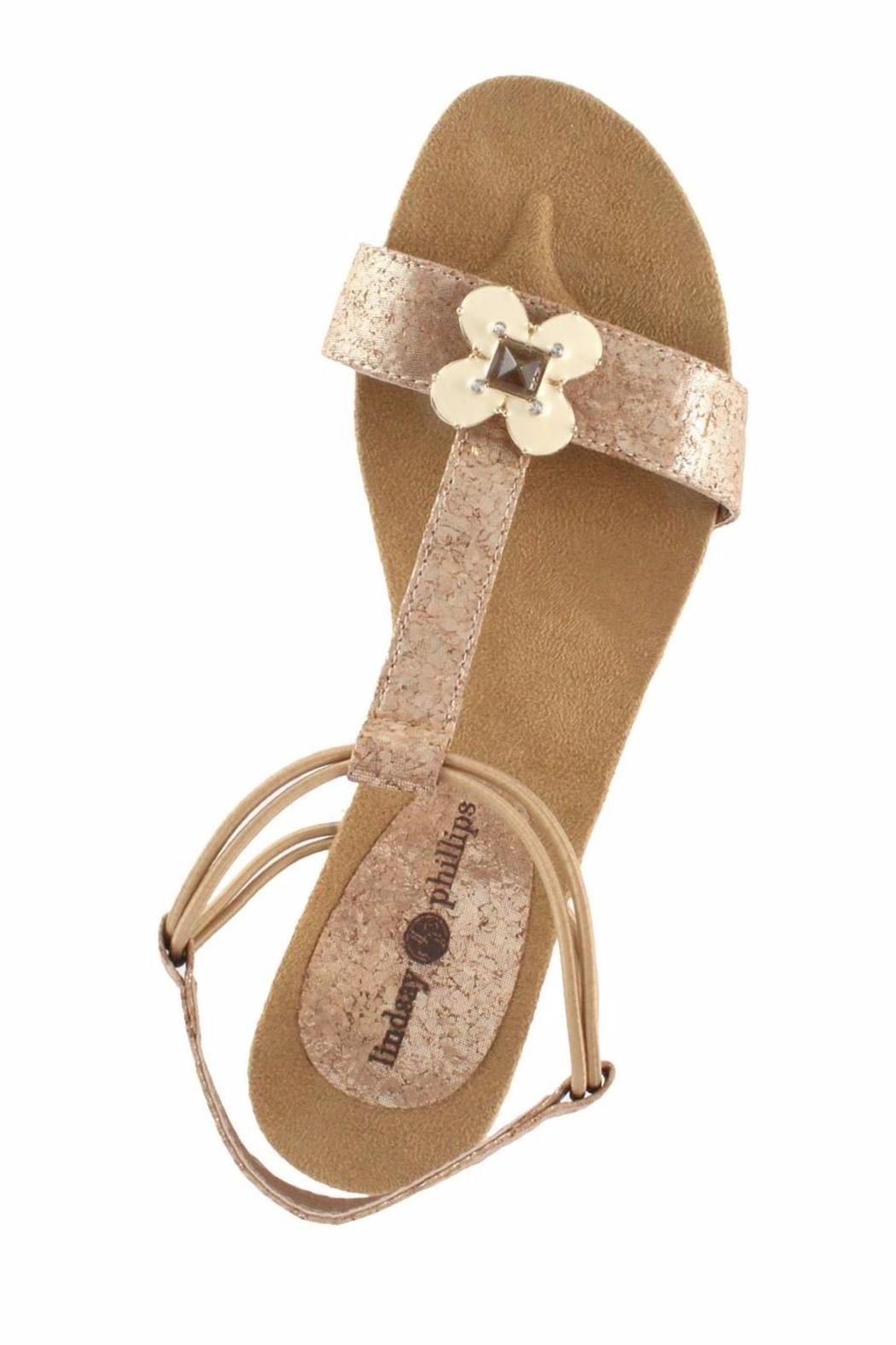 Lindsay Phillips Gold Platform Wedge - Side Cropped Image