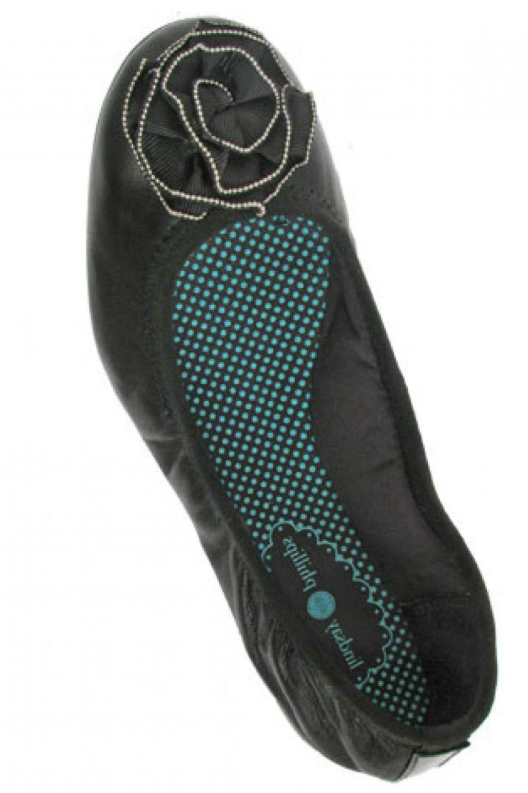 Lindsay Phillips Liz Black Leather Flat - Front Full Image