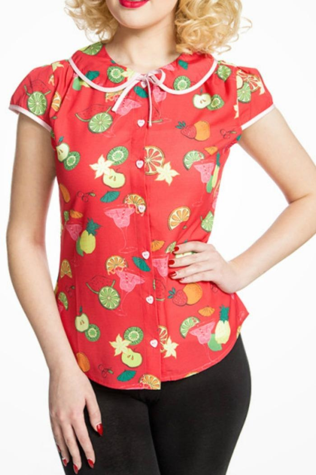 Lindy Bop Fruit Cocktail Top - Front Cropped Image