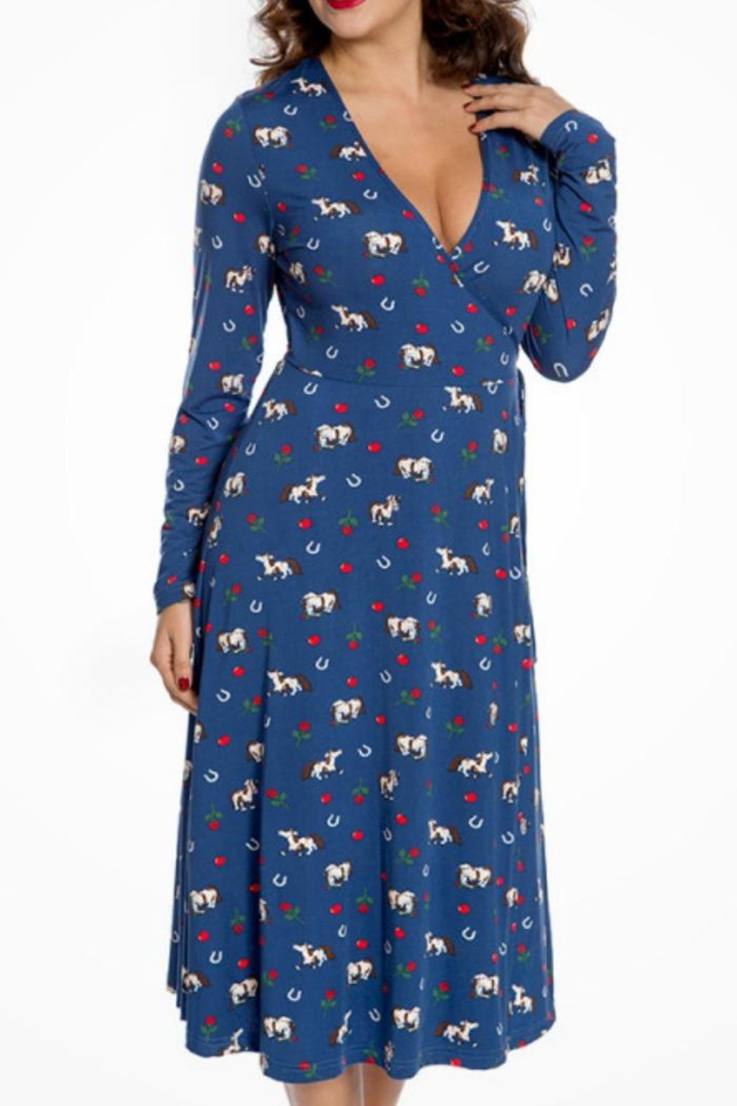 Lindy Bop Lucky Horse Dress - Front Cropped Image
