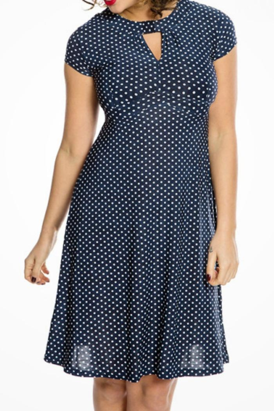 44fae7896f0e8 Lindy Bop Navy Polkadot Dress from Louisville by Block Party ...