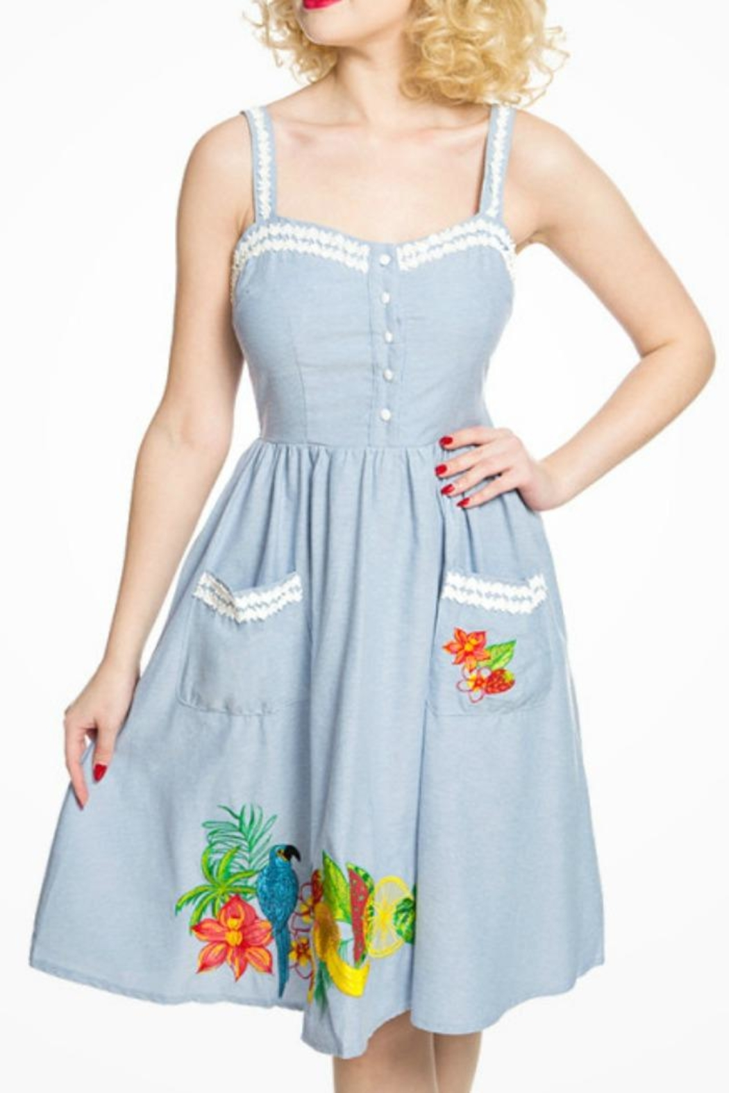 Lindy Bop Tropical Fruit Dress - Front Cropped Image