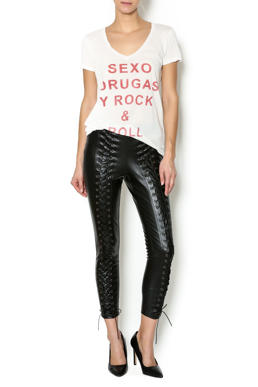 Line Amp Dot Lace Up Leatherette Pants From New Orleans By