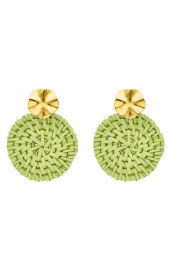 Shoptiques Product: Line Green Straw Earring