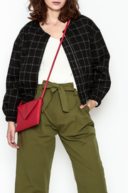 Line & Dot Plaid Bomber Jacket - Product Mini Image
