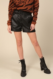 Line and Dot Vegan Leather Shorts - Front cropped