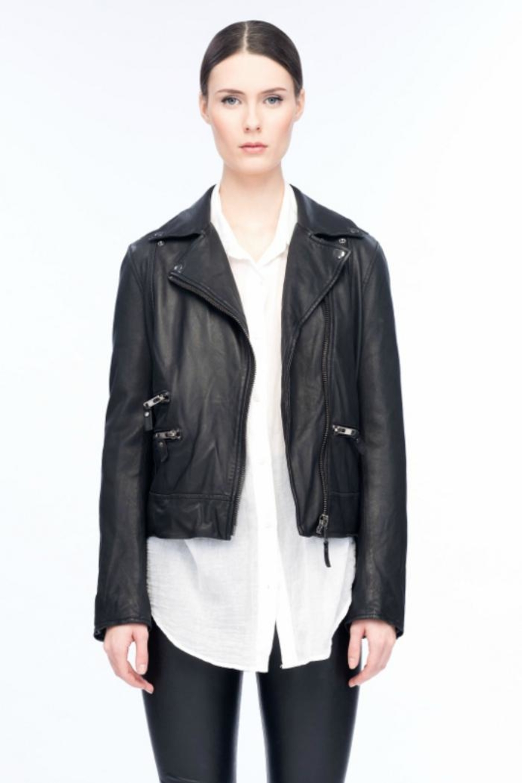 Line knitwear Forrester Leather Jacket - Front Cropped Image