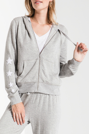 z supply Linear Star Zip up  Hoodie - Product Mini Image