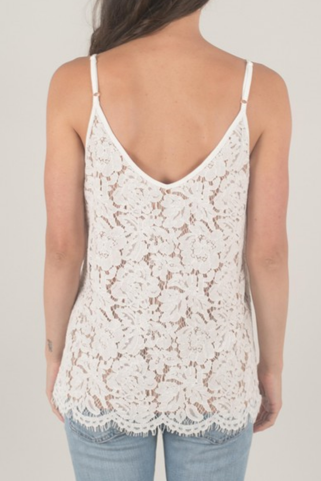 Space 46 Lined Lace Tank - Front Full Image