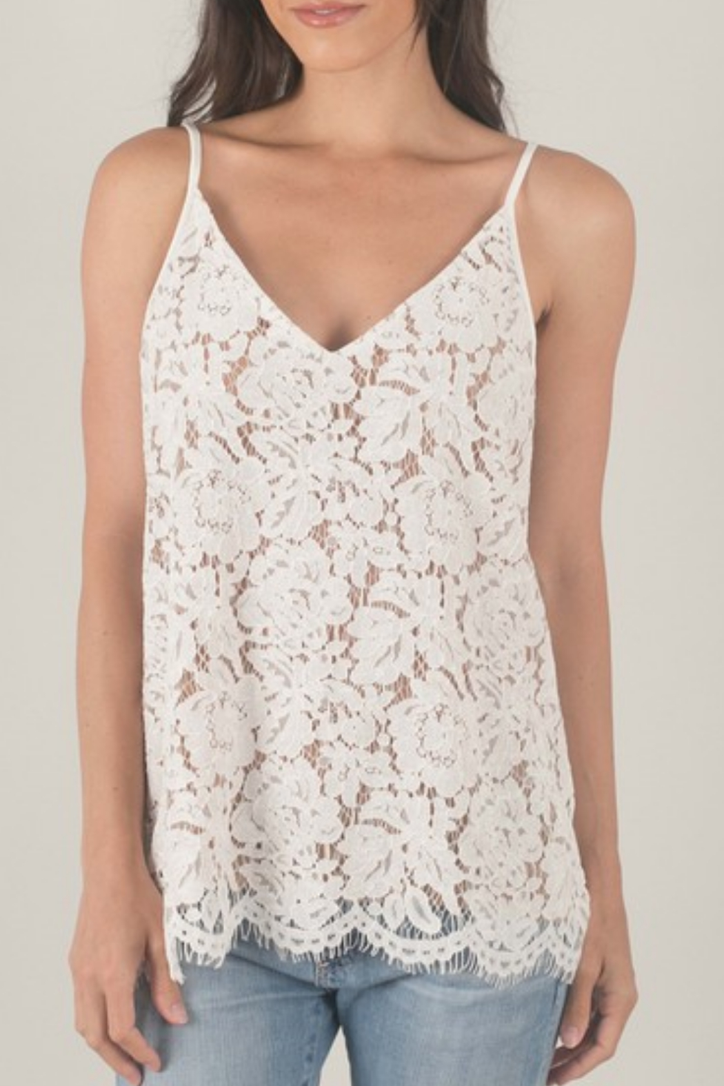 Space 46 Lined Lace Tank - Main Image