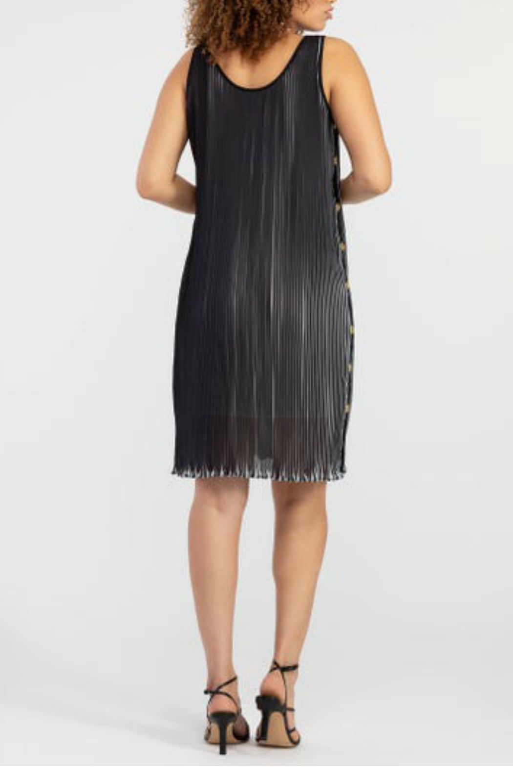 Tribal Lined Pleated Dress - Front Full Image