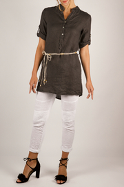 Femme Fatale Linen Belted Tunic /Dress w 3/4 Slvs - Product Mini Image