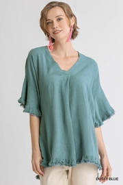 umgee  Linen Blend Bell Sleeve Top - Product Mini Image