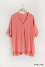 umgee  LINEN BEND BELL SLV TOP - Product Mini Image