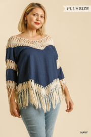 umgee  LINEN BLEND CROCHET KNIT FRAYED TOP - Product Mini Image