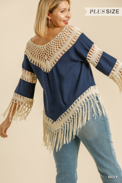 umgee  LINEN BLEND CROCHET KNIT FRAYED TOP - Alternate List Image