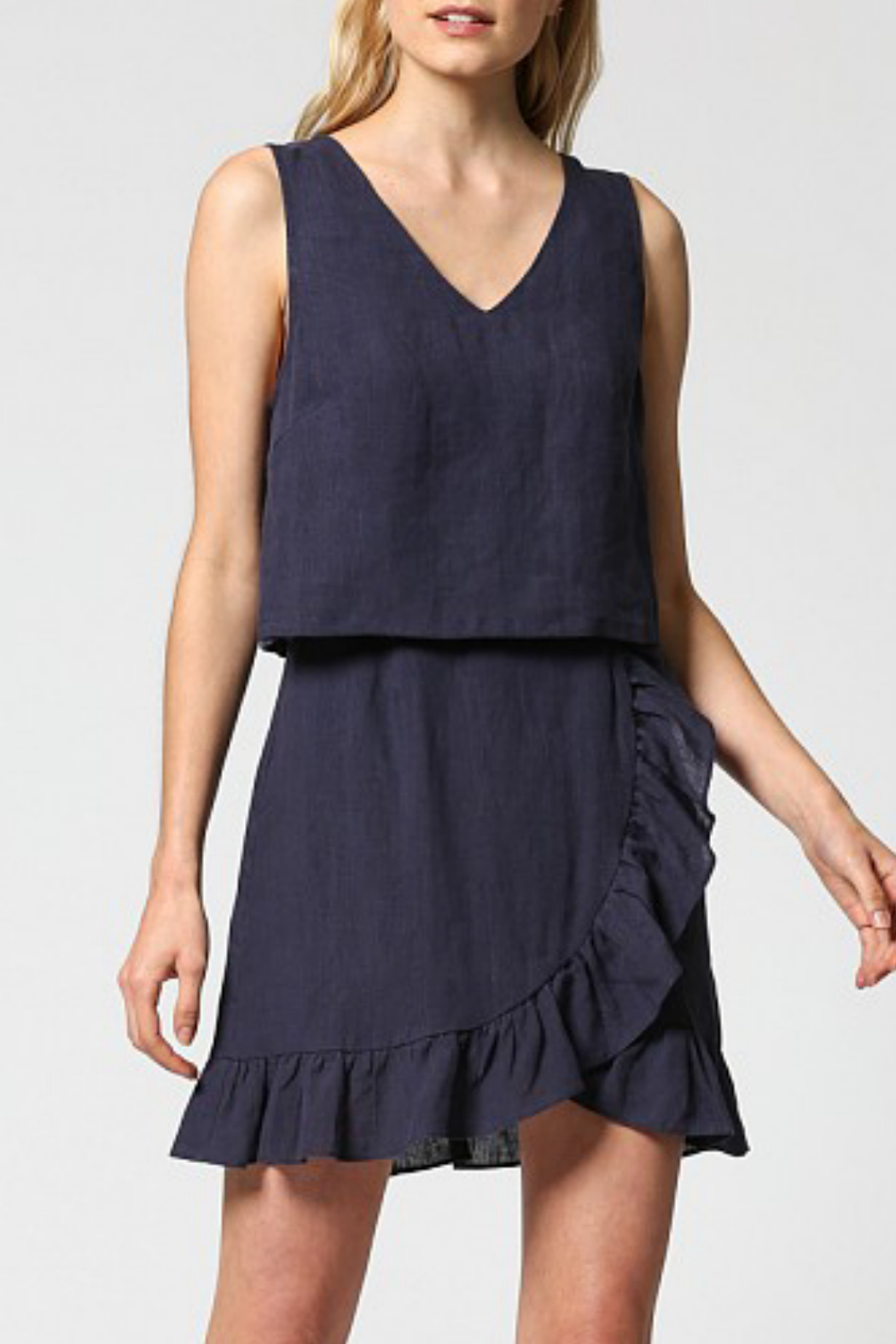 Fate Linen blend dress with ruffle hem - Front Cropped Image