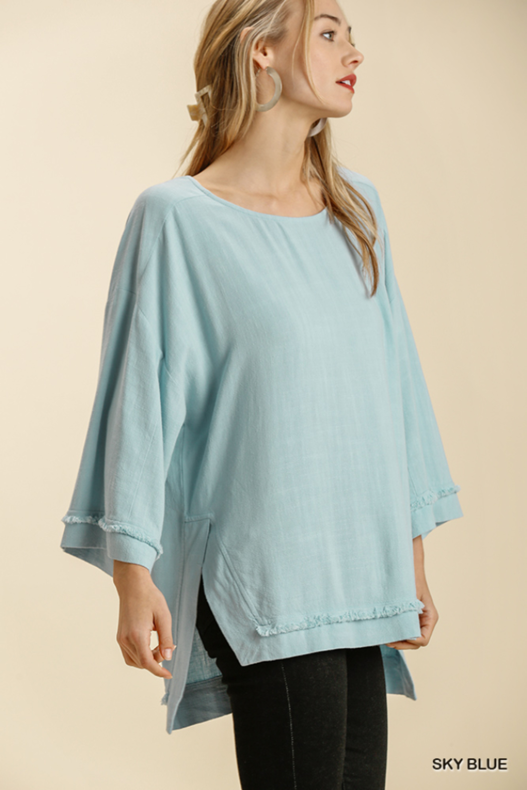 umgee  LINEN BLEND L/S FRAYED EDGE - Front Full Image