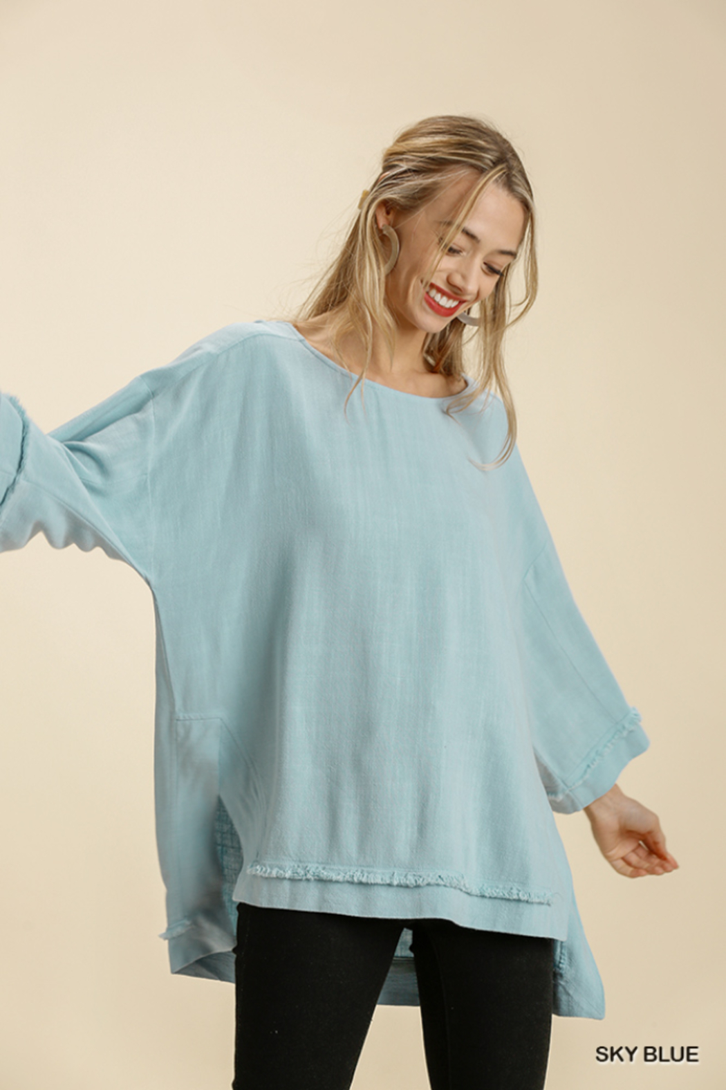 umgee  LINEN BLEND L/S FRAYED EDGE - Main Image