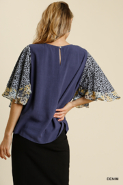 umgee  LINEN BLEND MIXED PRINT BUTTERFLY RUFFLE SLEEVE - Side cropped