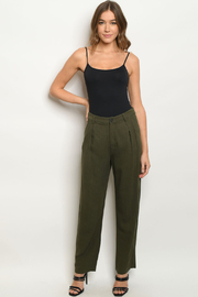 FORE Linen Blend Olive Pants - Product Mini Image