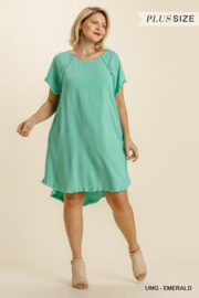 umgee  LINEN BLEND ROUND NECK FRAYED HEM DRESS - Product Mini Image