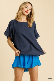 umgee  LINEN BLEND SHORT RUFFLE SLEEVE ROUND NECK TOP - Front cropped