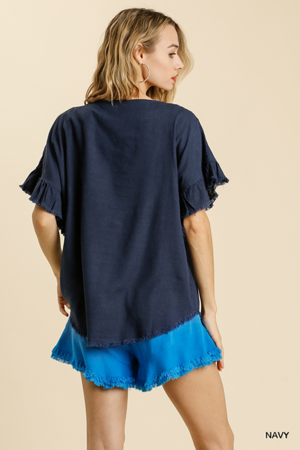 umgee  LINEN BLEND SHORT RUFFLE SLEEVE ROUND NECK TOP - Front Full Image