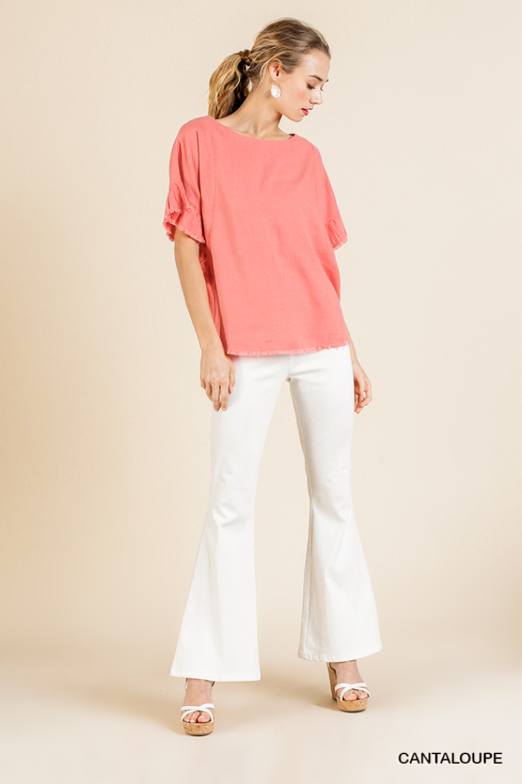 umgee  LINEN BLEND SHORT RUFFLE SLEEVE ROUND NECK TOP - Front Cropped Image