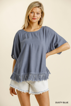 umgee  LINEN BLEND SHORT SLV TOP W/ TASSLE FRINGE - Product List Image