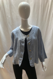 LUCA VANUCCI Linen Blue Jean Jacket - Front cropped